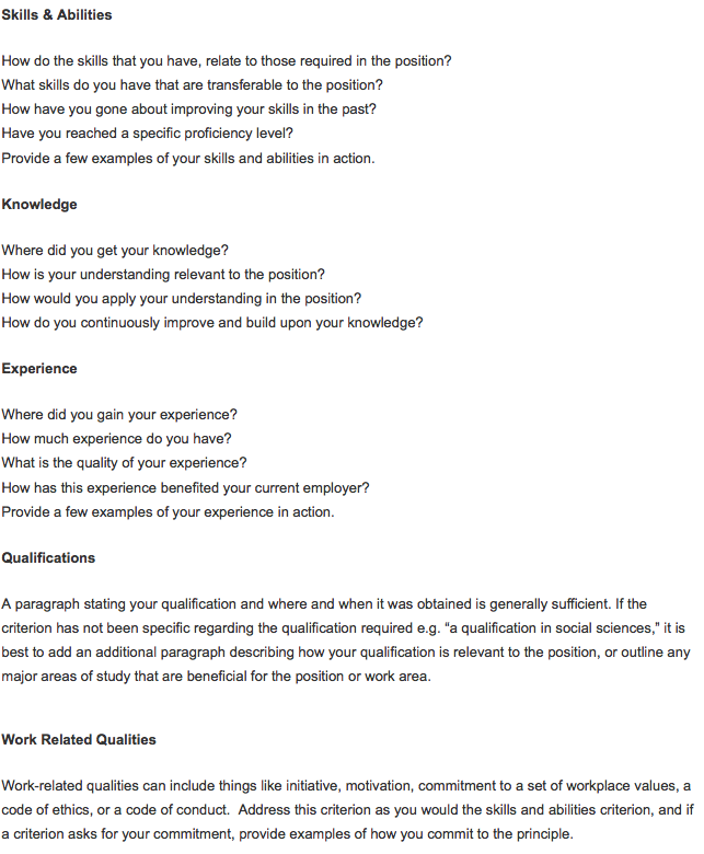 Free selection criteria examples for How to address key selection criteria in a cover letter